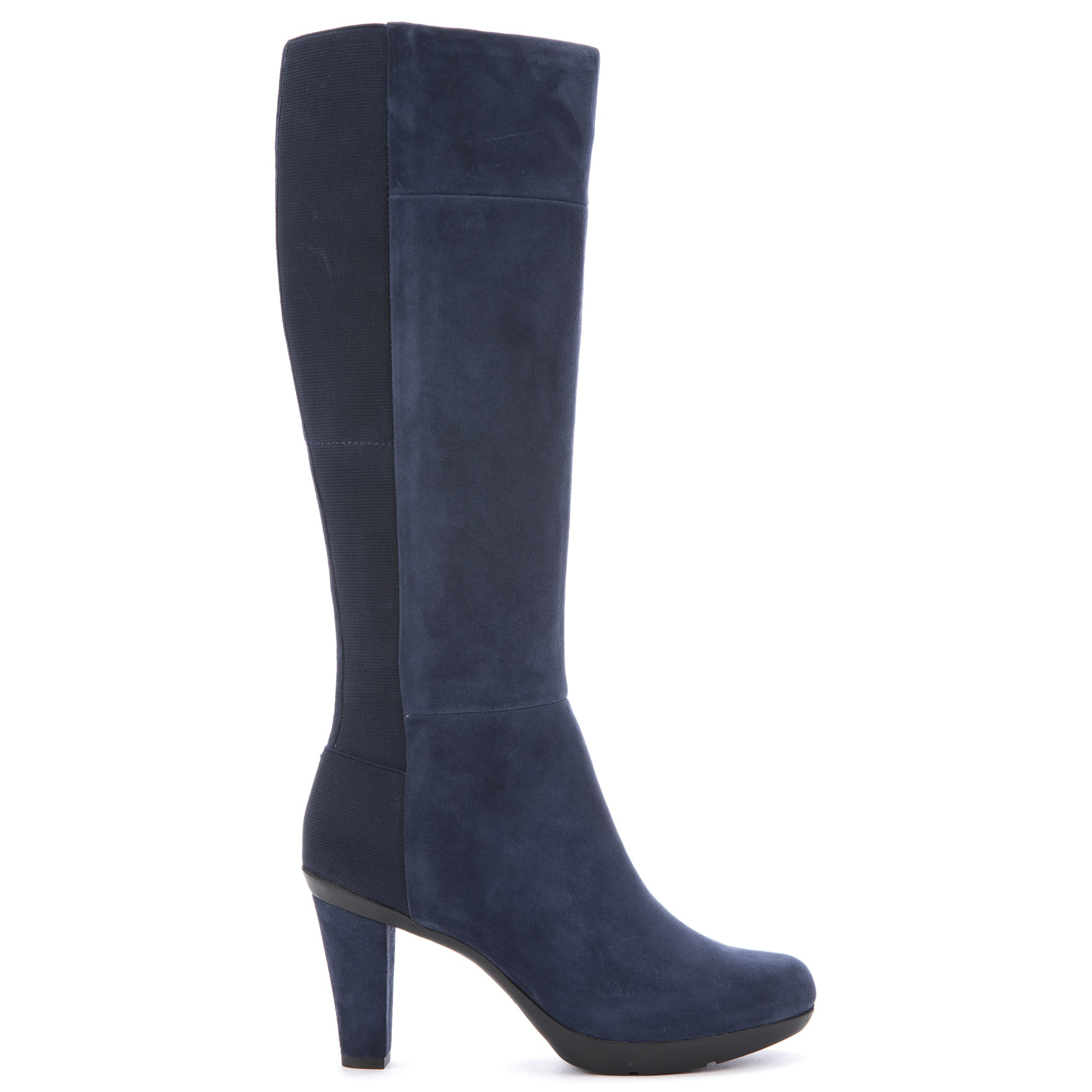 Geox Inspiration High Heeled Knee High Boots in Navy Suede (Blue)