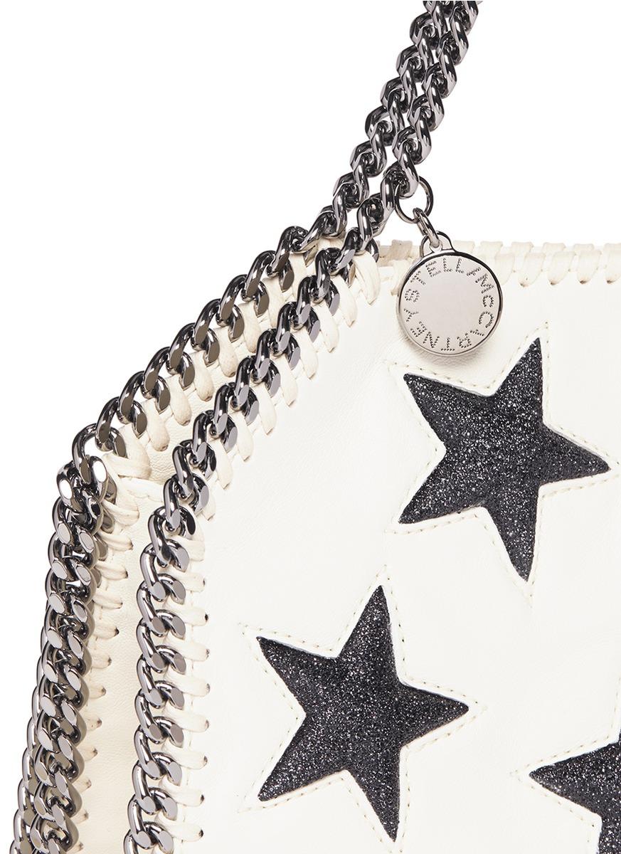 Stella McCartney 'falabella' Tiny Star Appliqué Crossbody Chain Tote in White