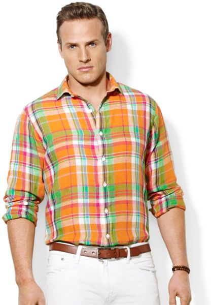 Polo ralph lauren polo big and tall longsleeve plaid linen for Big and tall men s long sleeve polo shirts