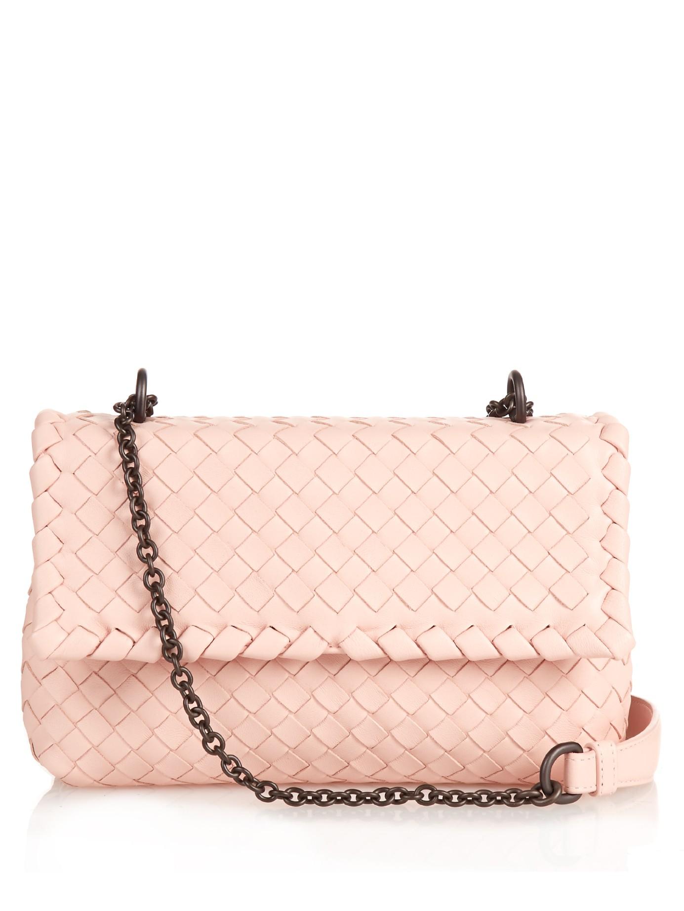 d0a5eb681e3c Bottega Veneta Baby Olimpia Intrecciato Leather Shoulder Bag in Pink ...