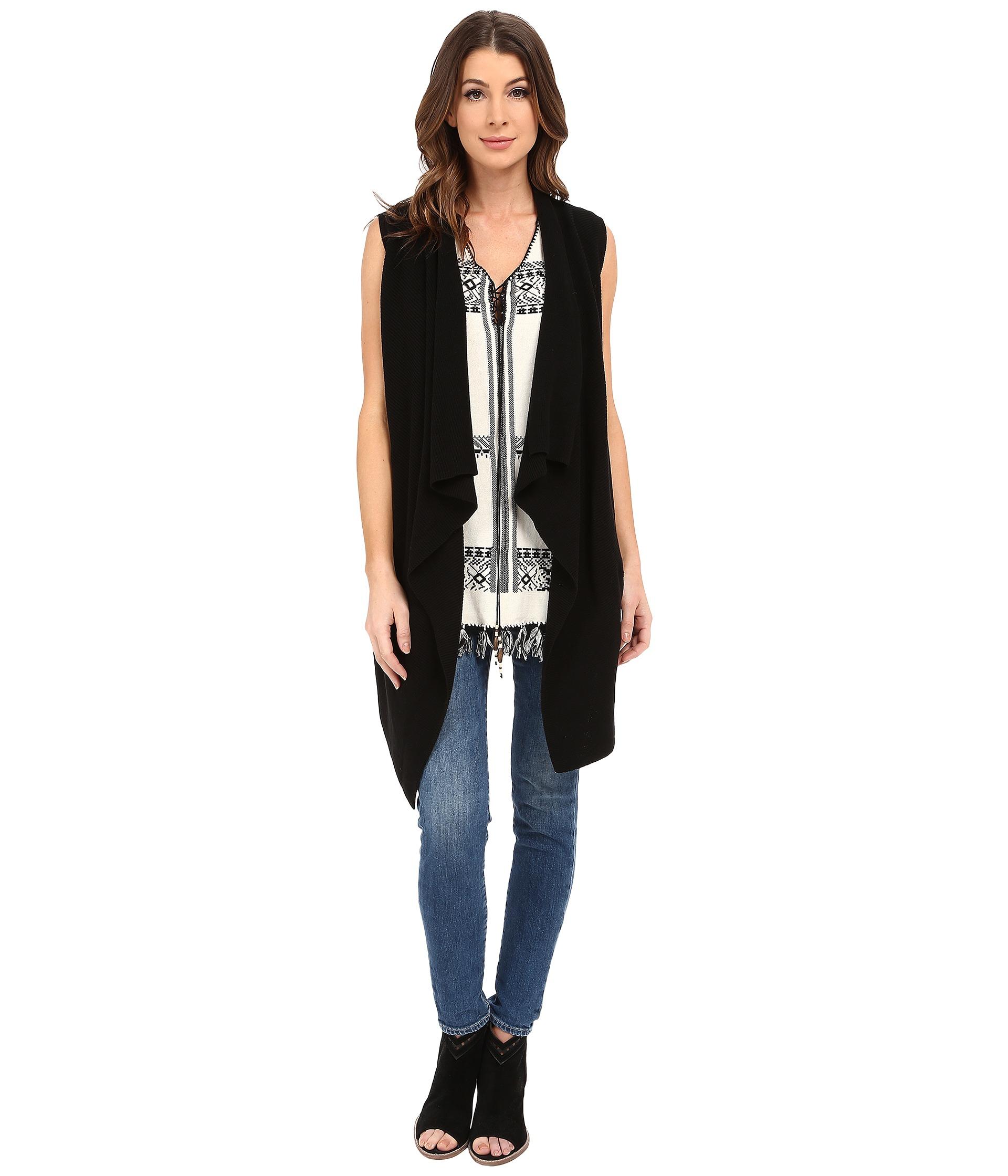 56878adc68b Dylan By True Grit Long Drape Sweater Vest in Black - Lyst