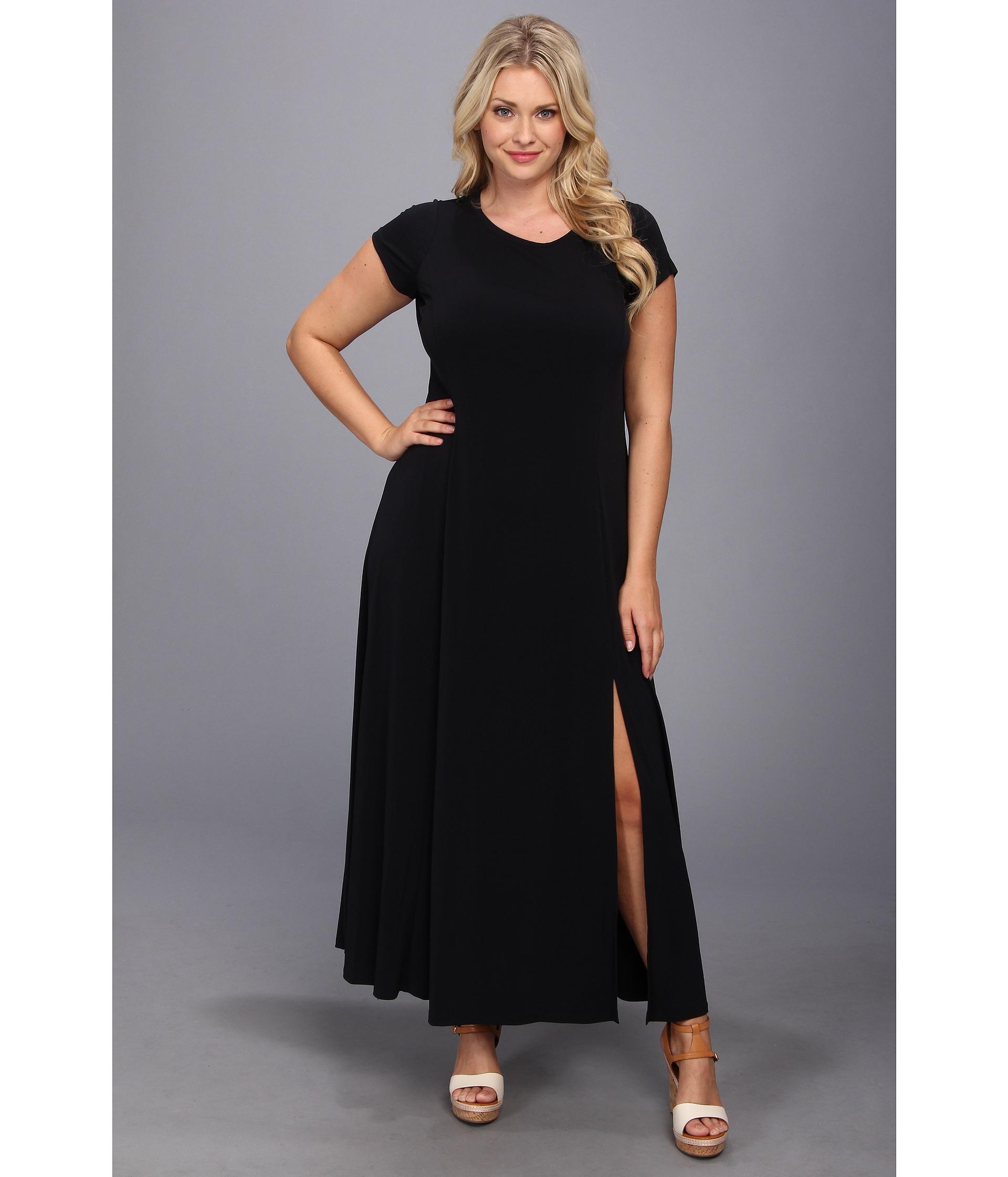 Plus Size Cap Sleeve Slit Maxi Dress