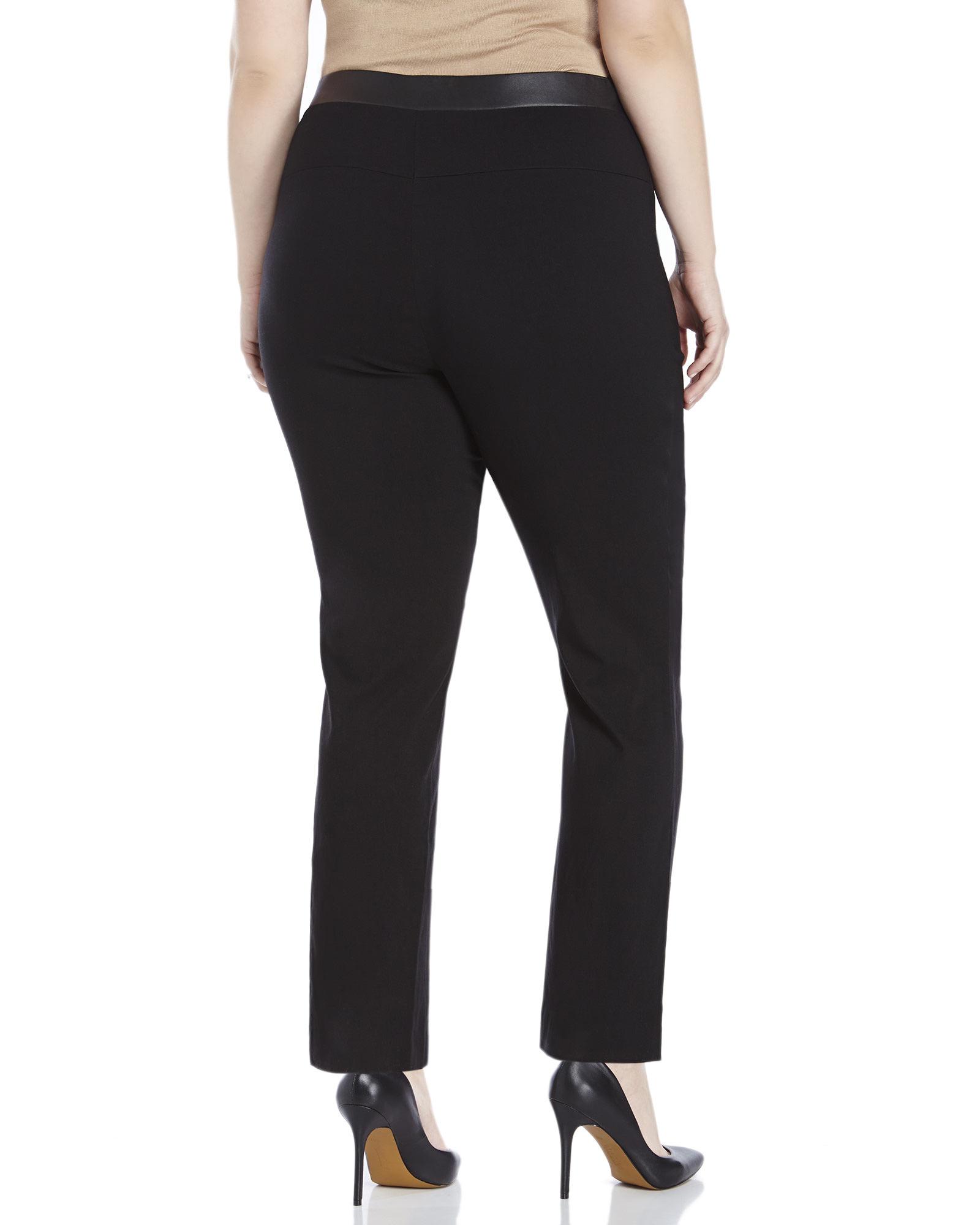 538db77f285 Lyst - Rafaella Plus Size Comfort Fit Faux Leather Trim Pants in Black