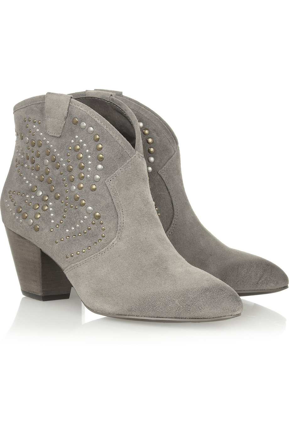 Ash Jessica Studded Suede Ankle Boots in Stone (Grey)