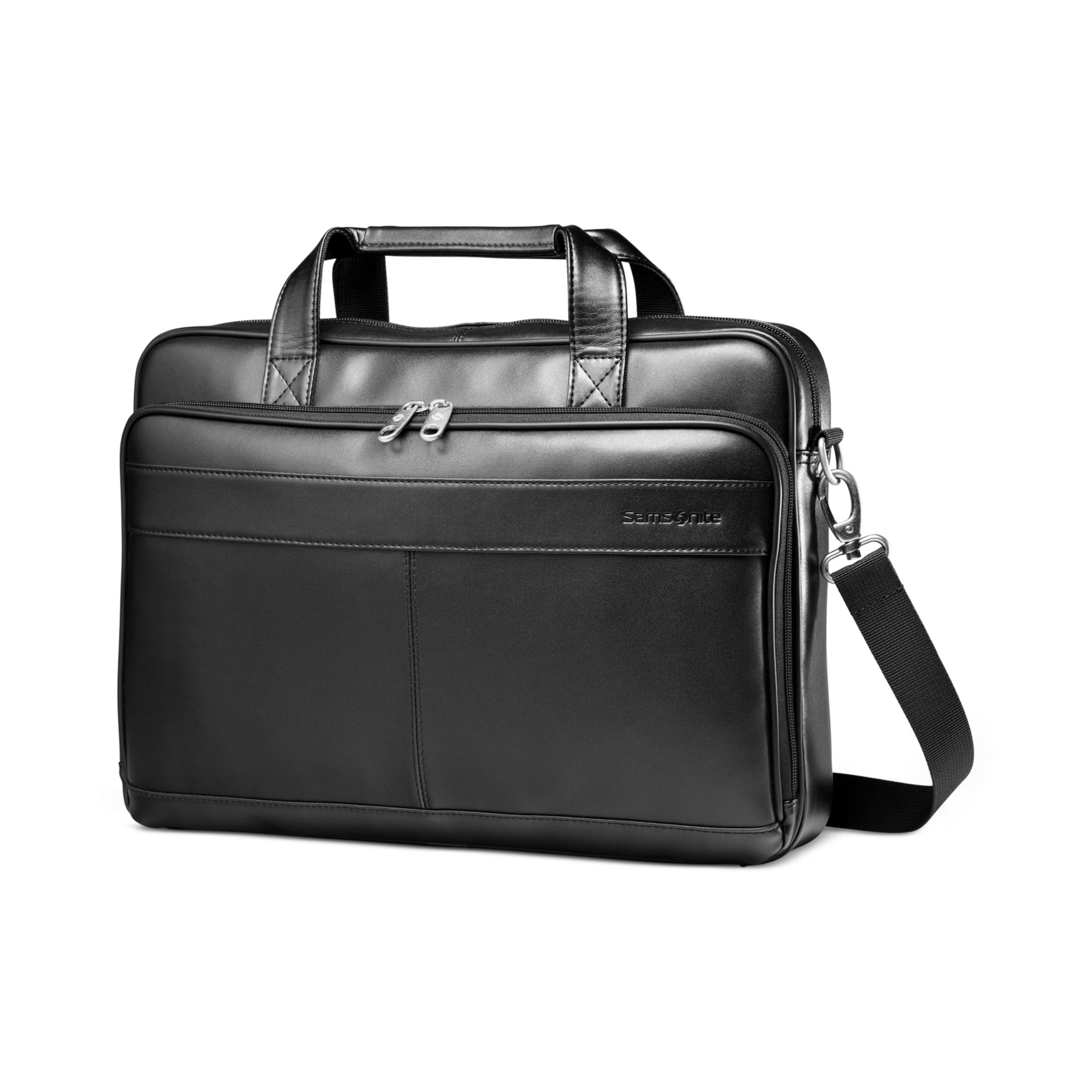 Samsonite Leather Slim Portfolio Laptop Briefcase In Black