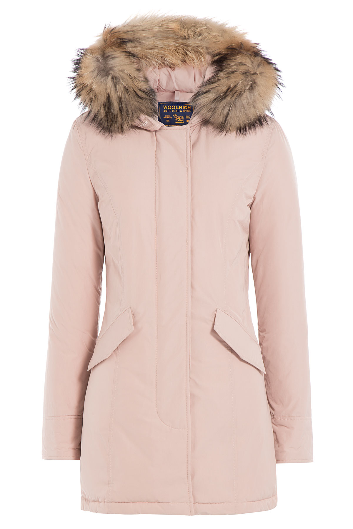 woolrich luxury arctic down parka with fur trimmed hood rose in pink lyst. Black Bedroom Furniture Sets. Home Design Ideas