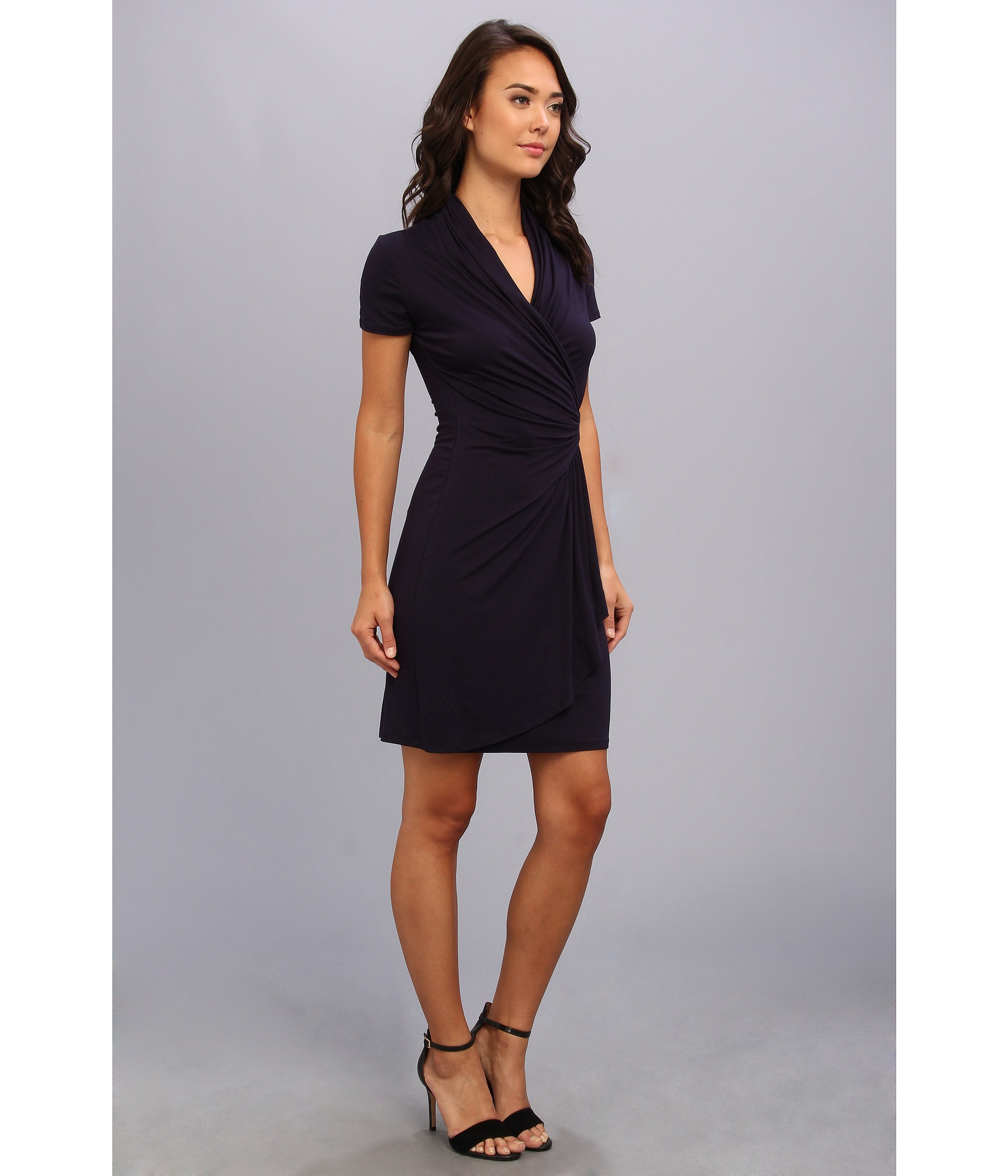 Karen Kane Short Sleeve Cascade Wrap Dress In Navy Blue