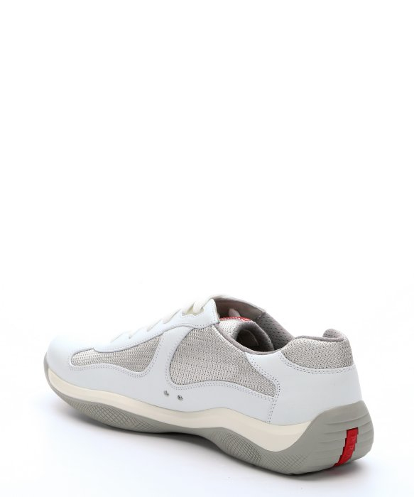 prada sport white canvas and leather lace up sneakers in