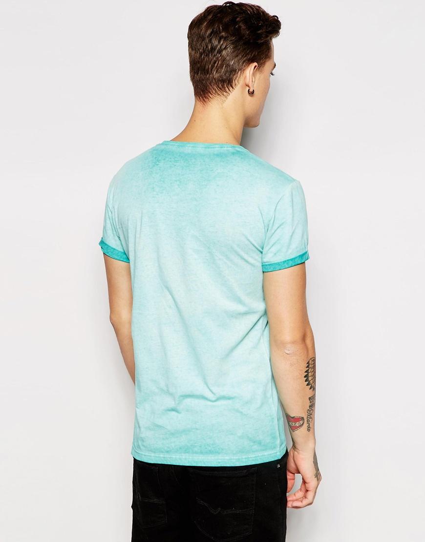 esprit oil wash t shirt in blue for men lyst. Black Bedroom Furniture Sets. Home Design Ideas
