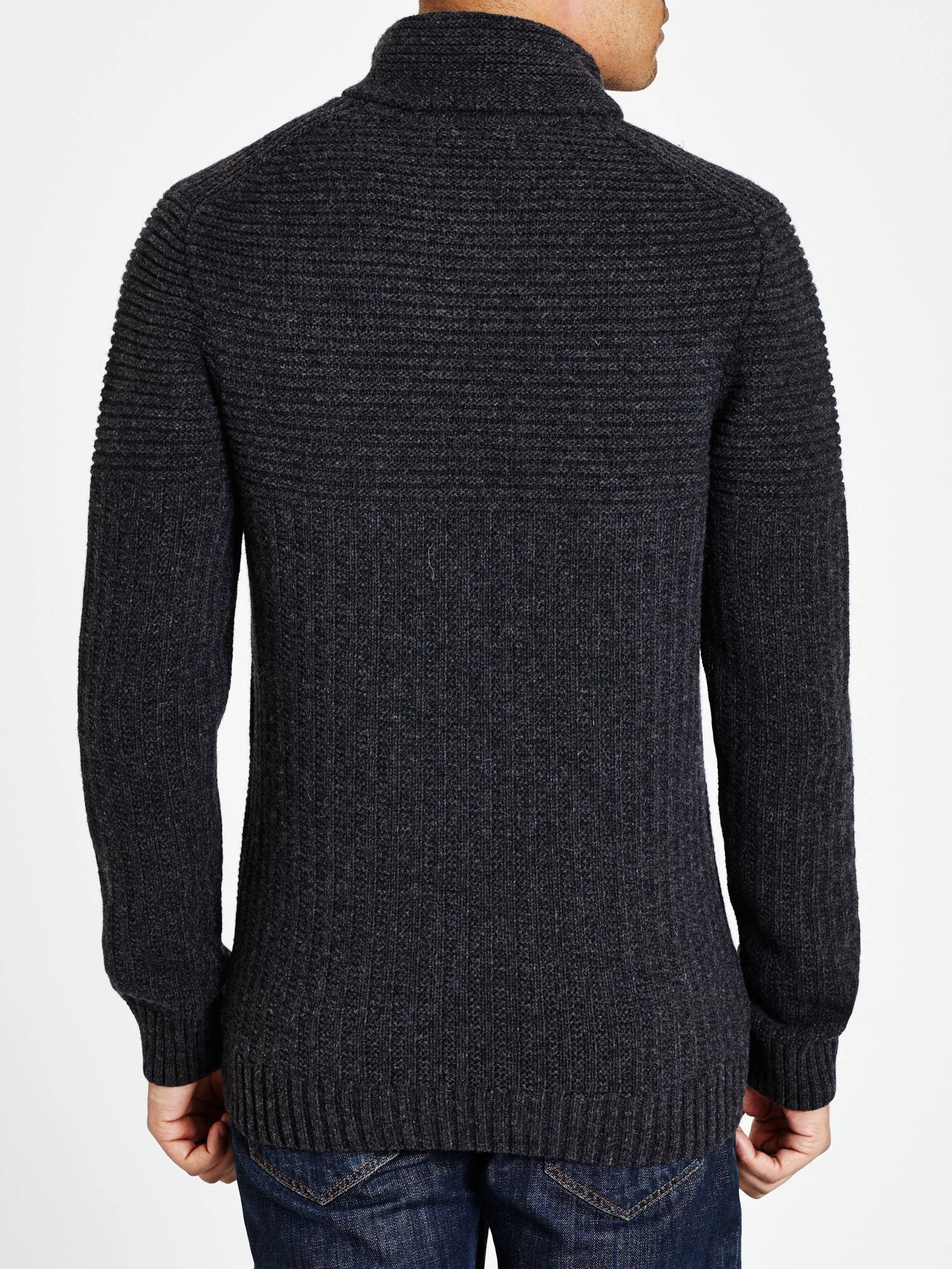 Lyle & Scott Wool Lyle  Scot Shawl Collar Jumper in Charcoal (Grey) for Men