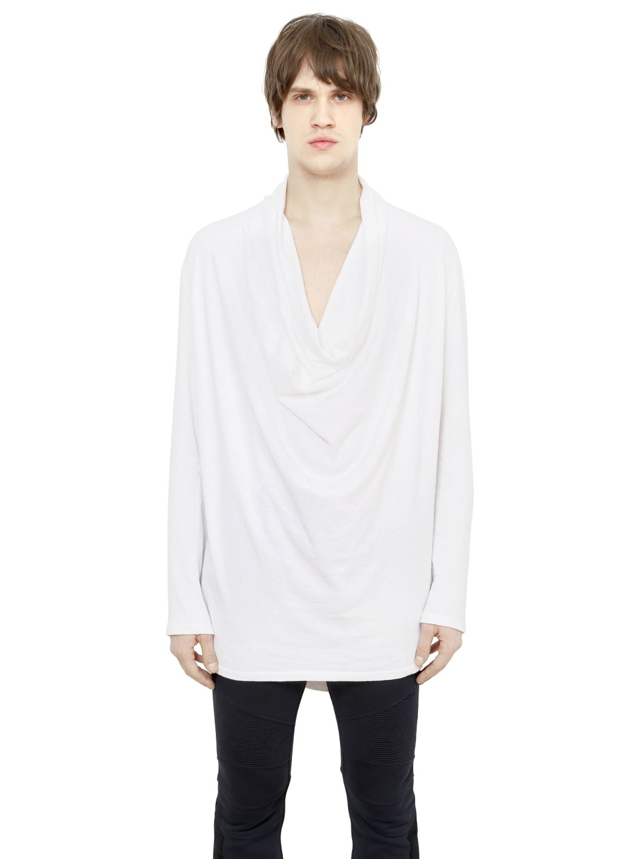 Balmain draped cotton blend long sleeve t shirt in white for White cotton long sleeve t shirt