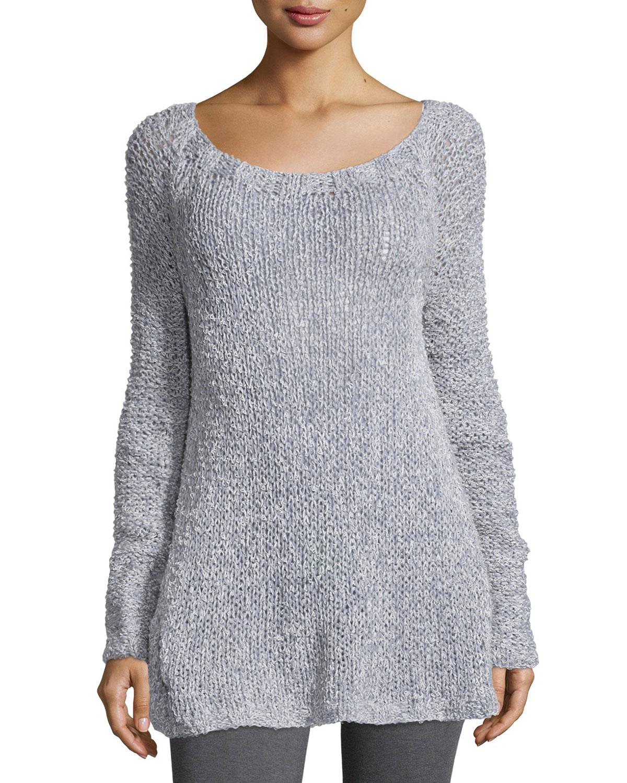lyst donna karan cashmere blend hand loomed sweater in gray. Black Bedroom Furniture Sets. Home Design Ideas