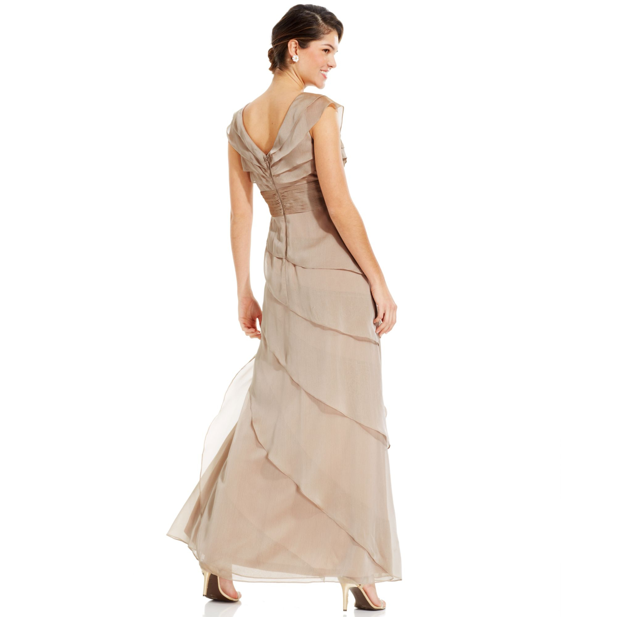 Lyst - Adrianna Papell Tiered Evening Dress in Natural