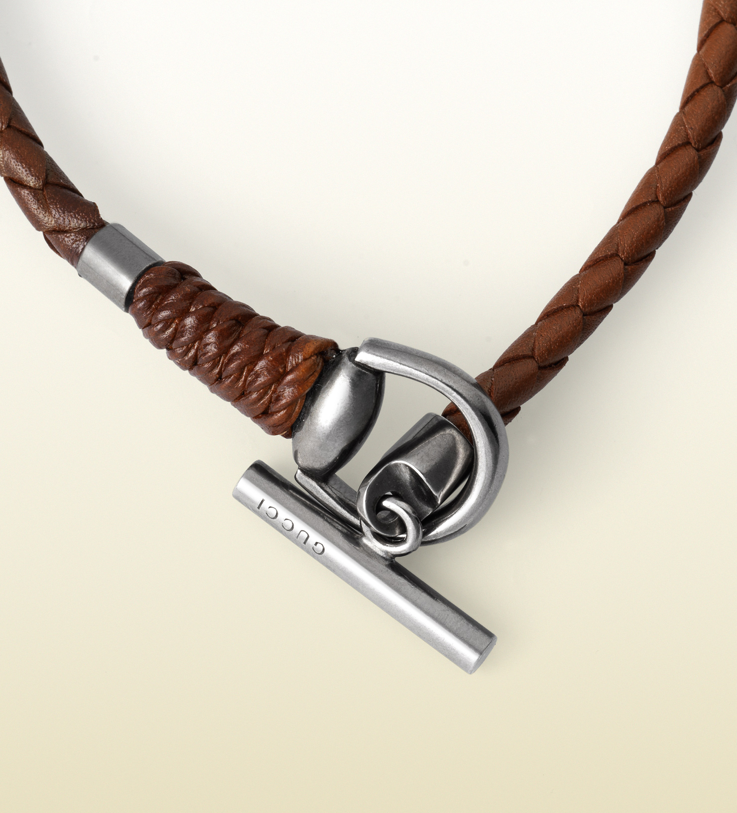 Gucci Leather Bracelet With Horsebit Toggle Closure In