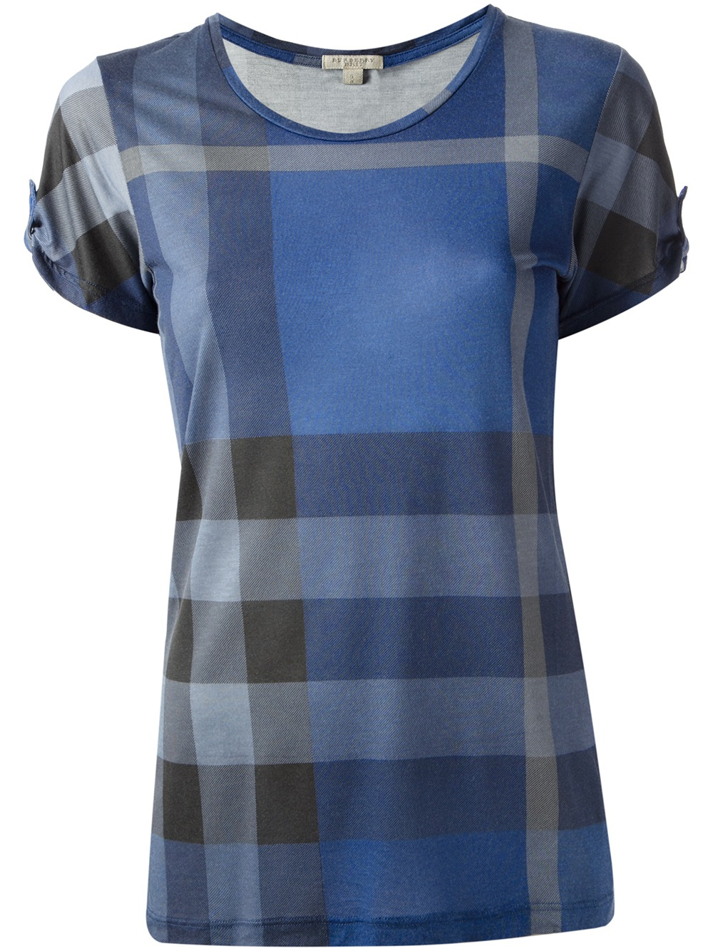 Burberry brit check print t shirt in blue lyst for Burberry brit checked shirt