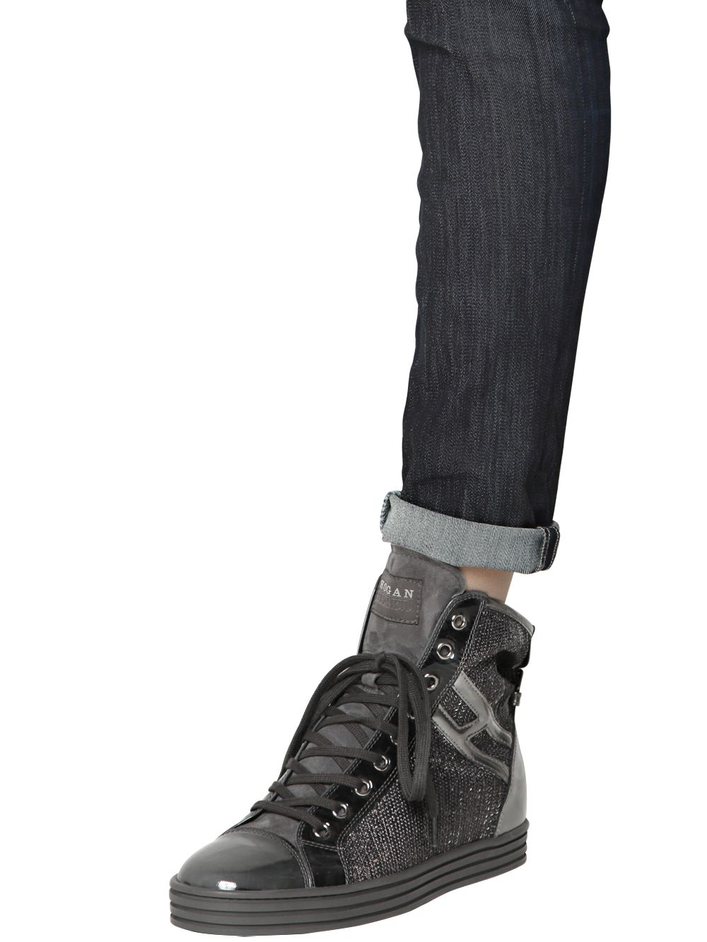 the best attitude classic fit exclusive shoes Hogan Rebel 50mm High Top Wedged Sequins Sneakers in Pewter ...