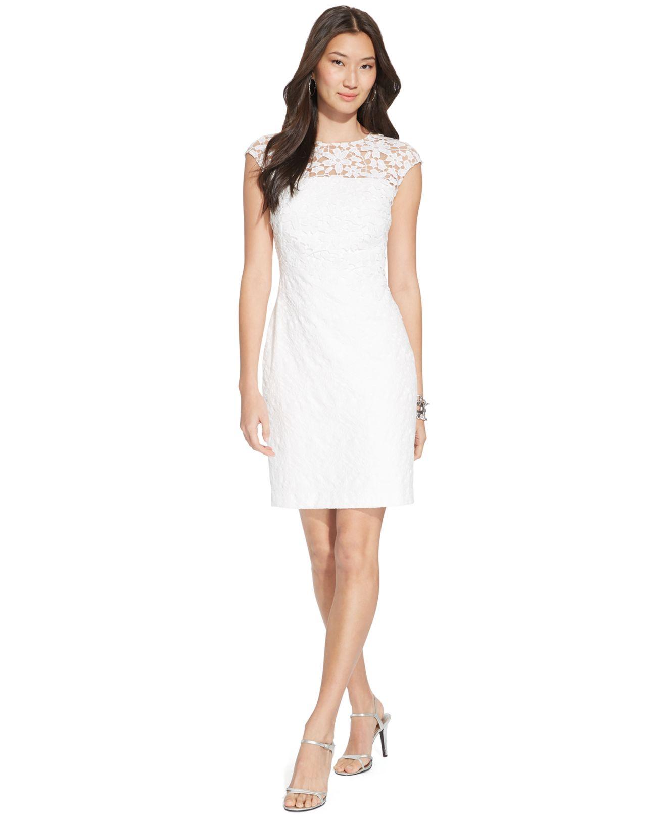 67cabbf139b4 Lyst - Lauren By Ralph Lauren Lace Boat-Neck Dress in White