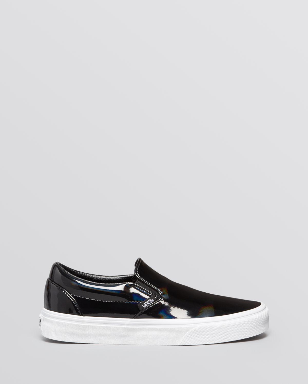 9d6839b923 Lyst - Vans Flat Slip On Sneakers - Patent Leather in Black