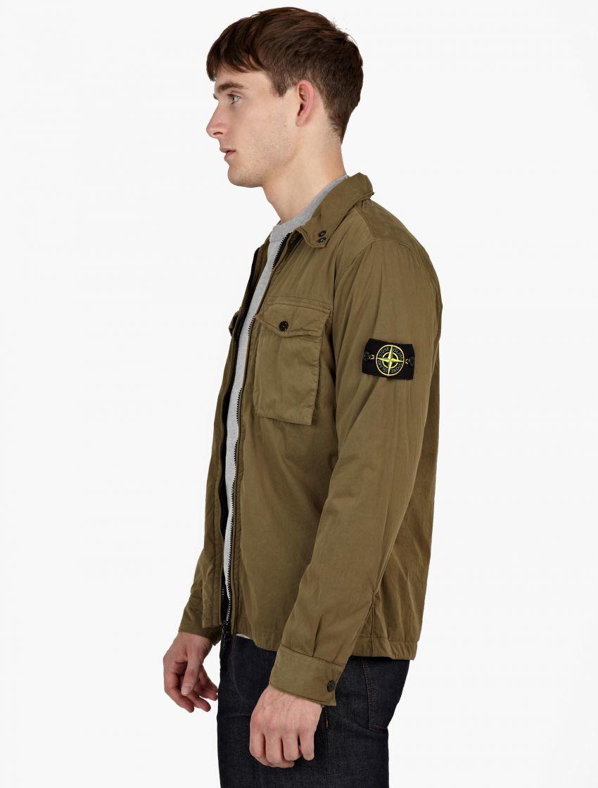 stone island mens khaki green overshirt jacket - TONIC