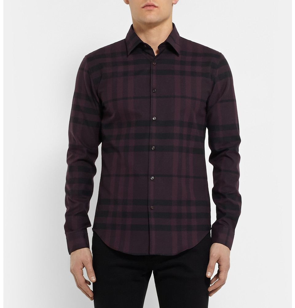 Burberry slim fit checked cotton flannel shirt in red for for Mens slim fit flannel shirt