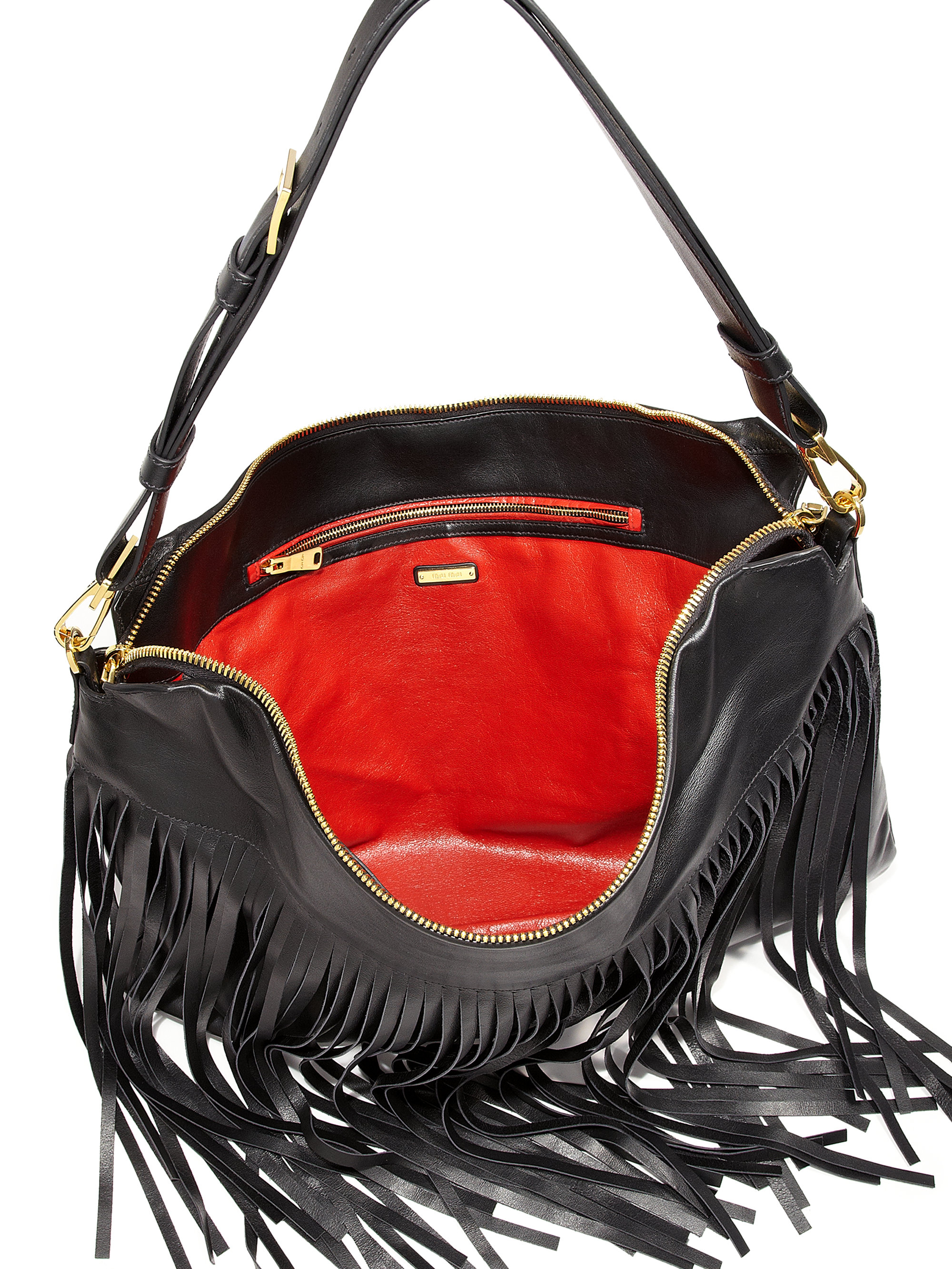 eedc5b6af6c9 miu miu outlet italy - Miu miu Fringed Hobo Bag in Black (NERO-BLACK
