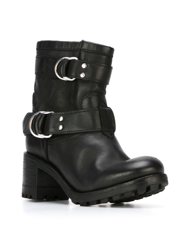 f9bf669d3 DIESEL Chunky-Heel Leather Biker Boots in Black - Lyst
