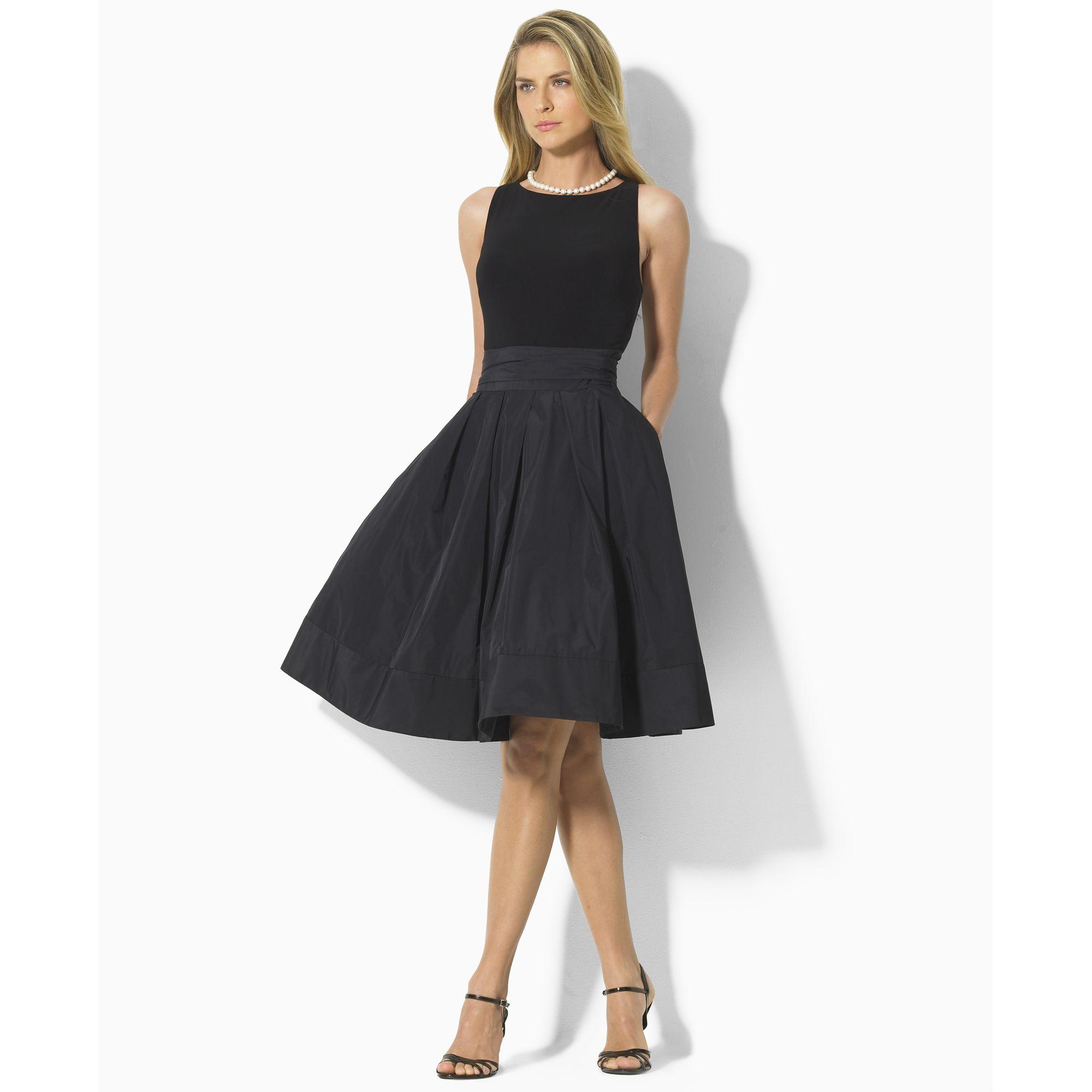 Lauren By Ralph Lauren Pleated Cocktail Dress In Black Lyst