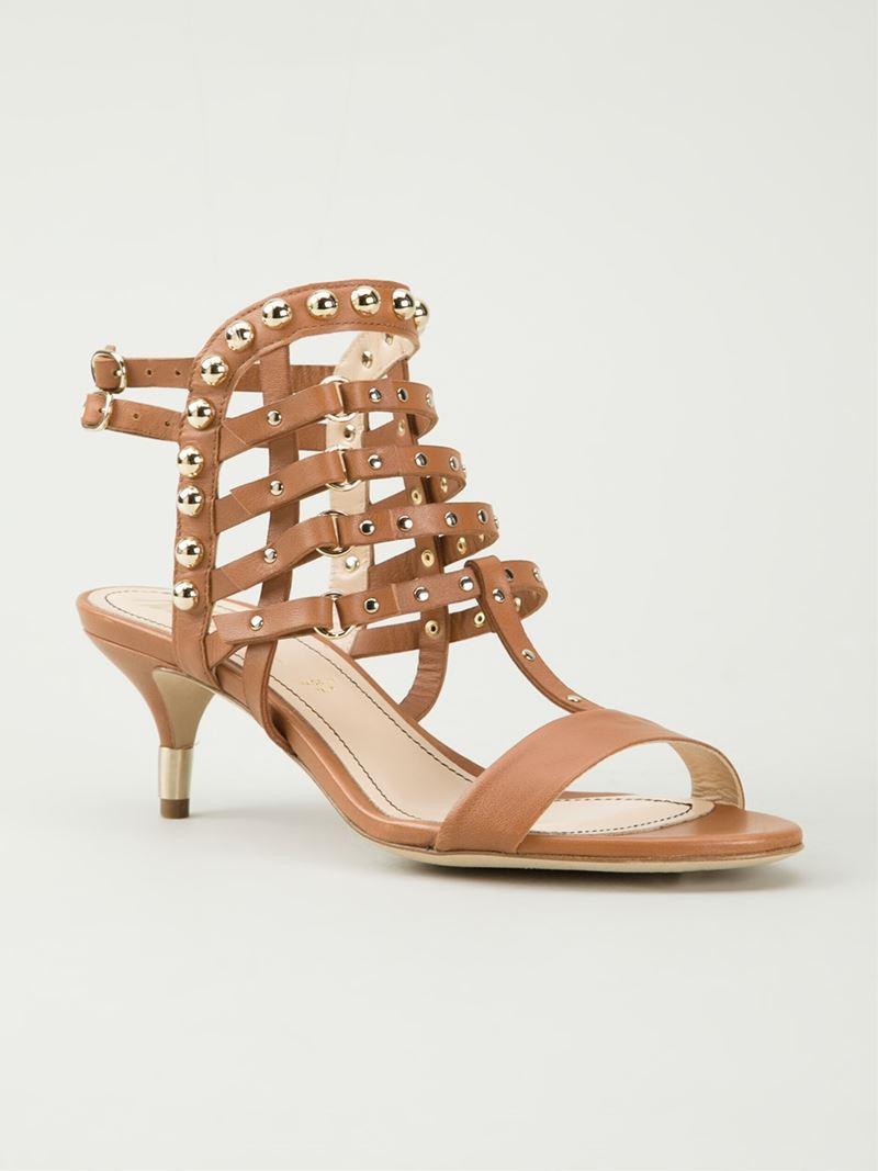 Jerome c. rousseau Strappy Kitten Heel Sandals in Brown | Lyst