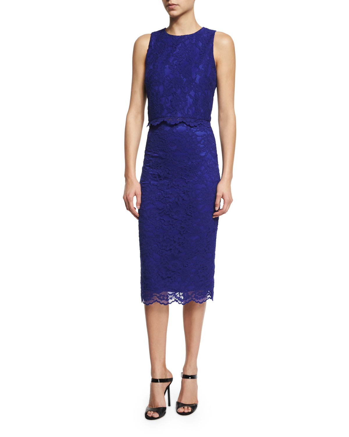 neiman lace pencil skirt in blue lyst