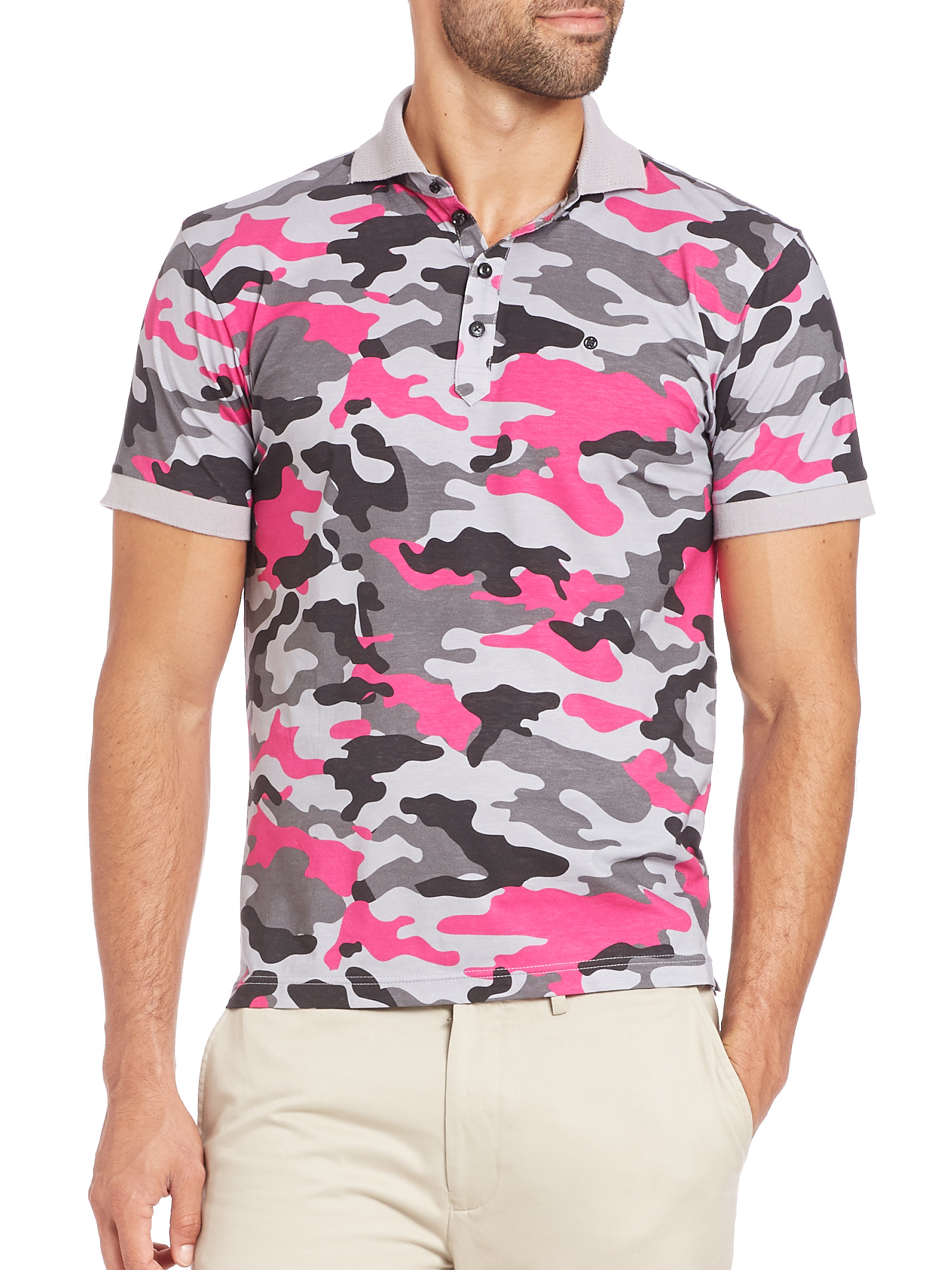 Lyst g fore camo polo in pink for men for Camo polo shirts for men