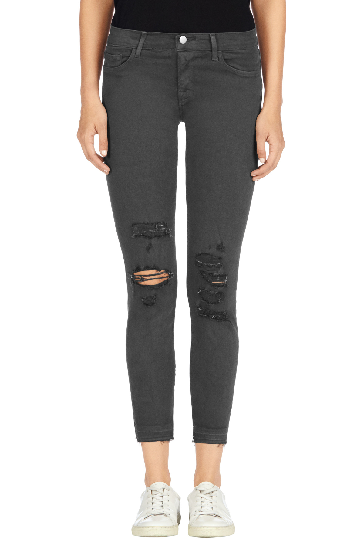 J brand Low-rise Cropped Skinny In Demented Grey in Gray | Lyst
