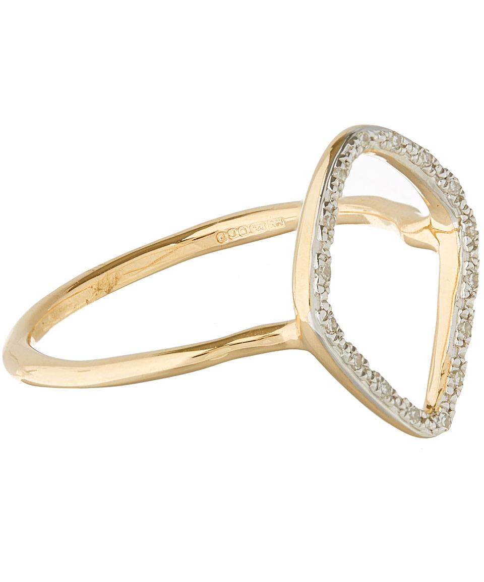 Monica Vinader Gold Vermeil Diamond Riva Hoop Ring in Metallic