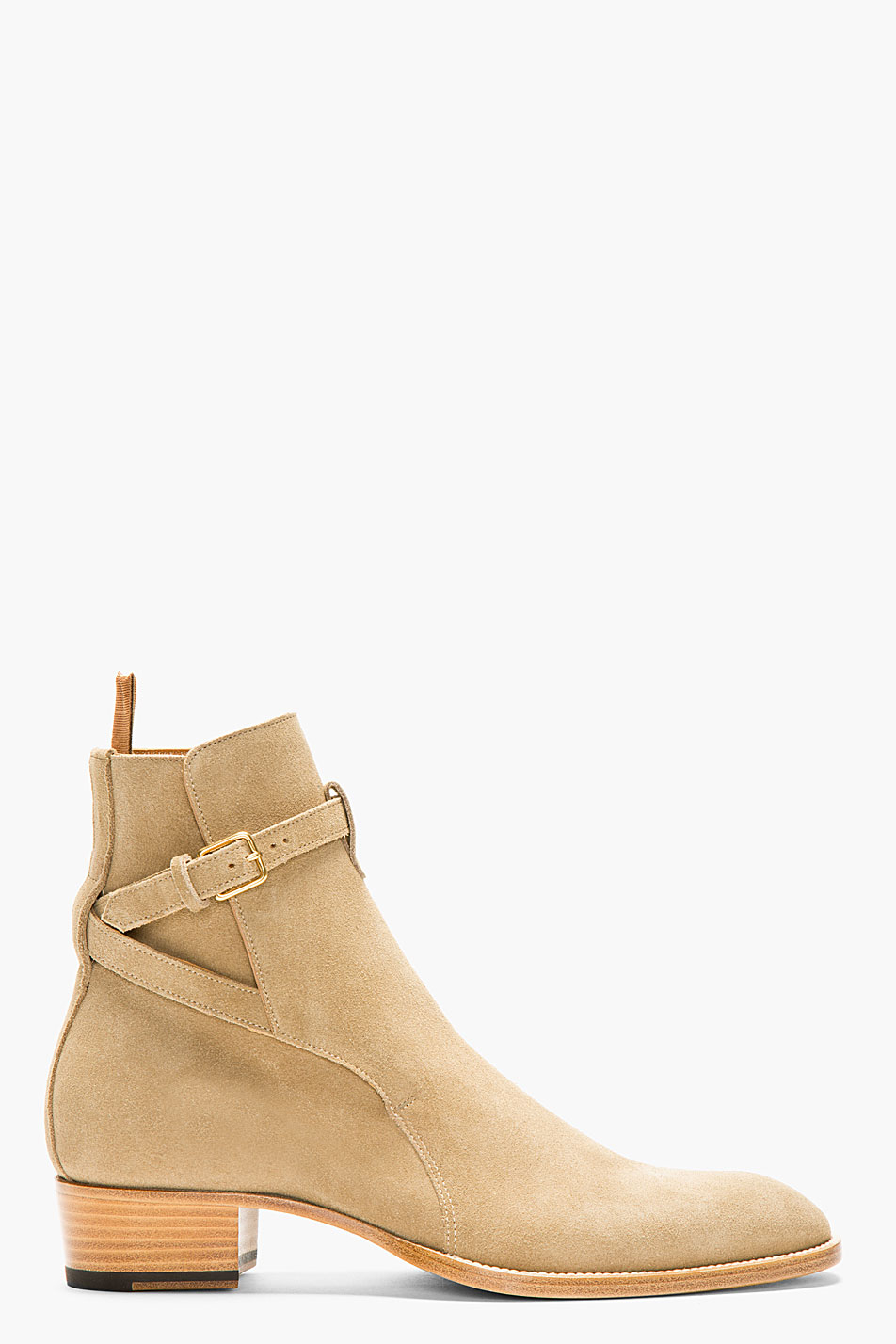 laurent beige suede strapped ankle boots in