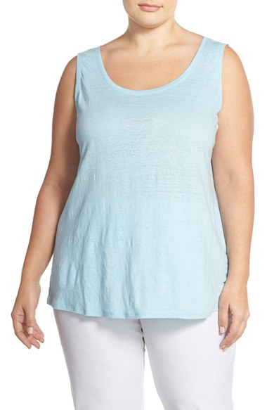 884b1b6c7fb Lyst - Eileen Fisher Organic Linen Jersey U-neck Long Tank in Blue