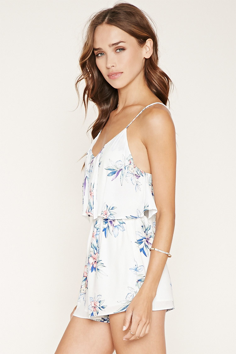 1507a93d3 Forever 21 Floral Flounce-layered Romper - Lyst