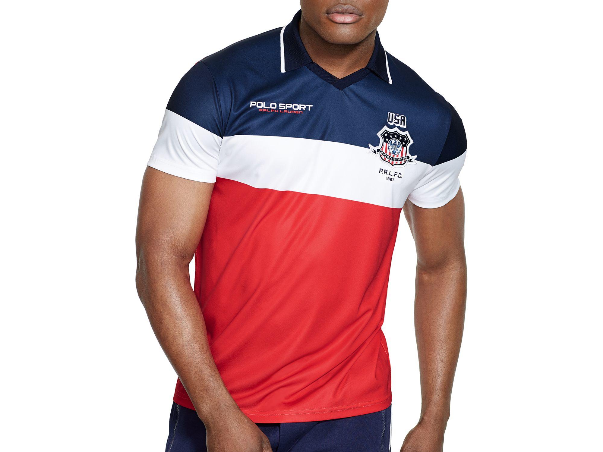 Sport Polo Usa For Men Lauren Jersey Ralph Red Shirt Color Blocked trCsdhQ