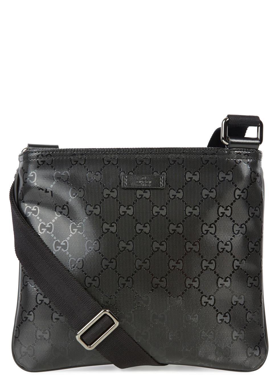 998af000079 Gucci Black Monogrammed Coated Canvas Messenger Bag in Black for Men ...