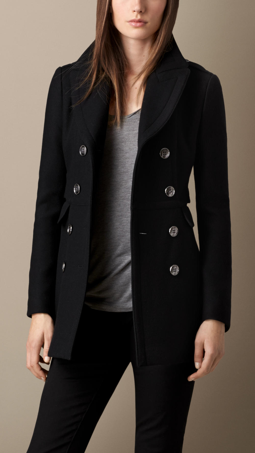 Fitted pea coat women