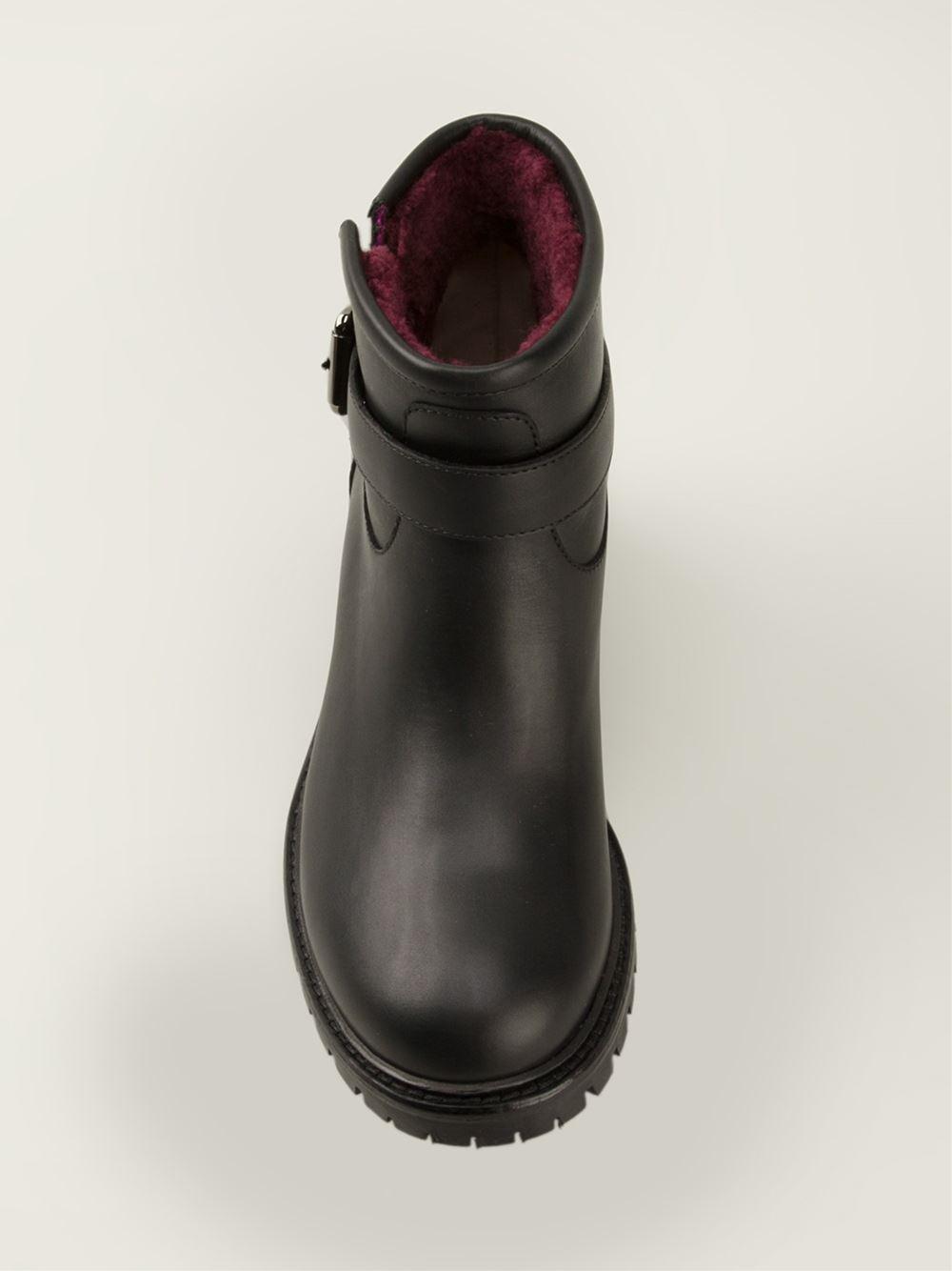 Fendi Buckled Biker Boots in Black