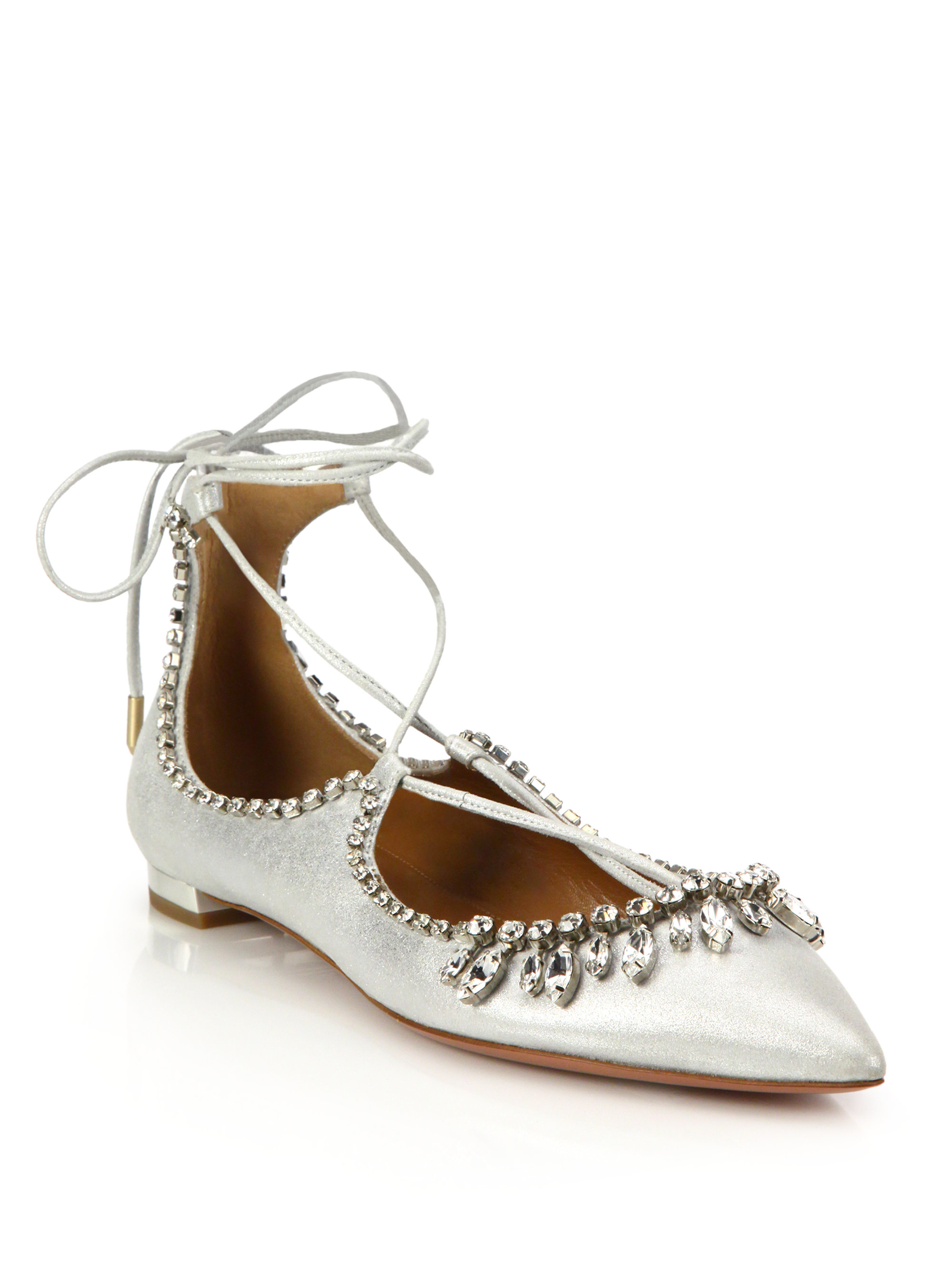Charlotte Silver Leather And Lace Shoes