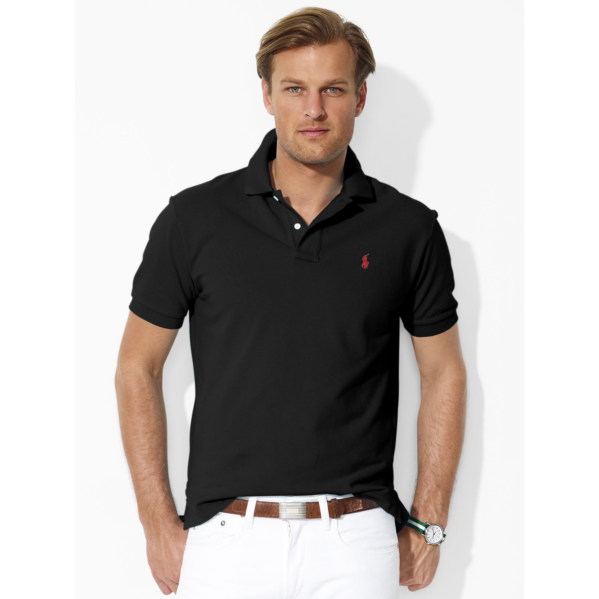 Lyst polo ralph lauren classic fit mesh polo shirt in for Black fitted polo shirt