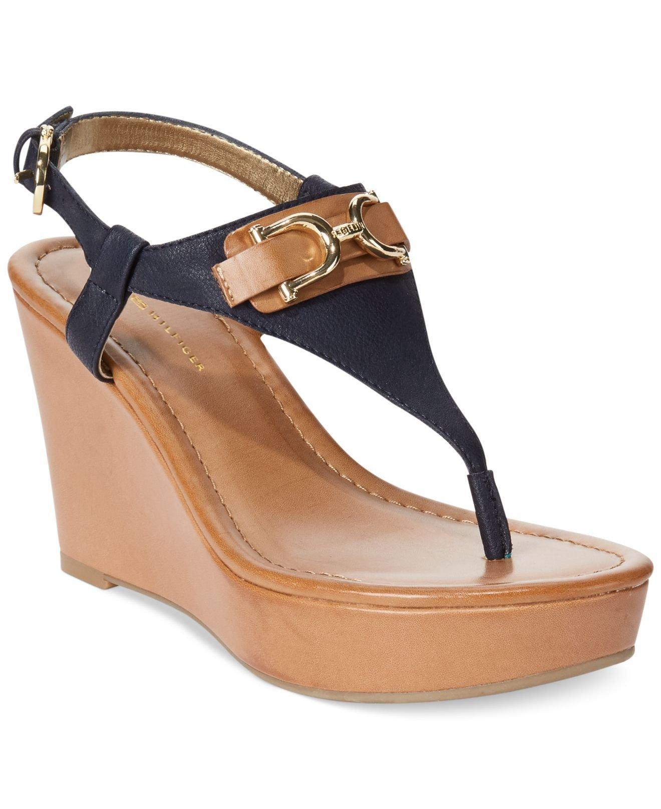 0e11e12a3 Lyst - Tommy Hilfiger Women S Myrtie Platform Wedge Thong Sandals in ...