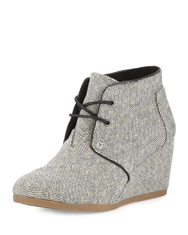 toms metallic linen desert wedge boot in black lyst