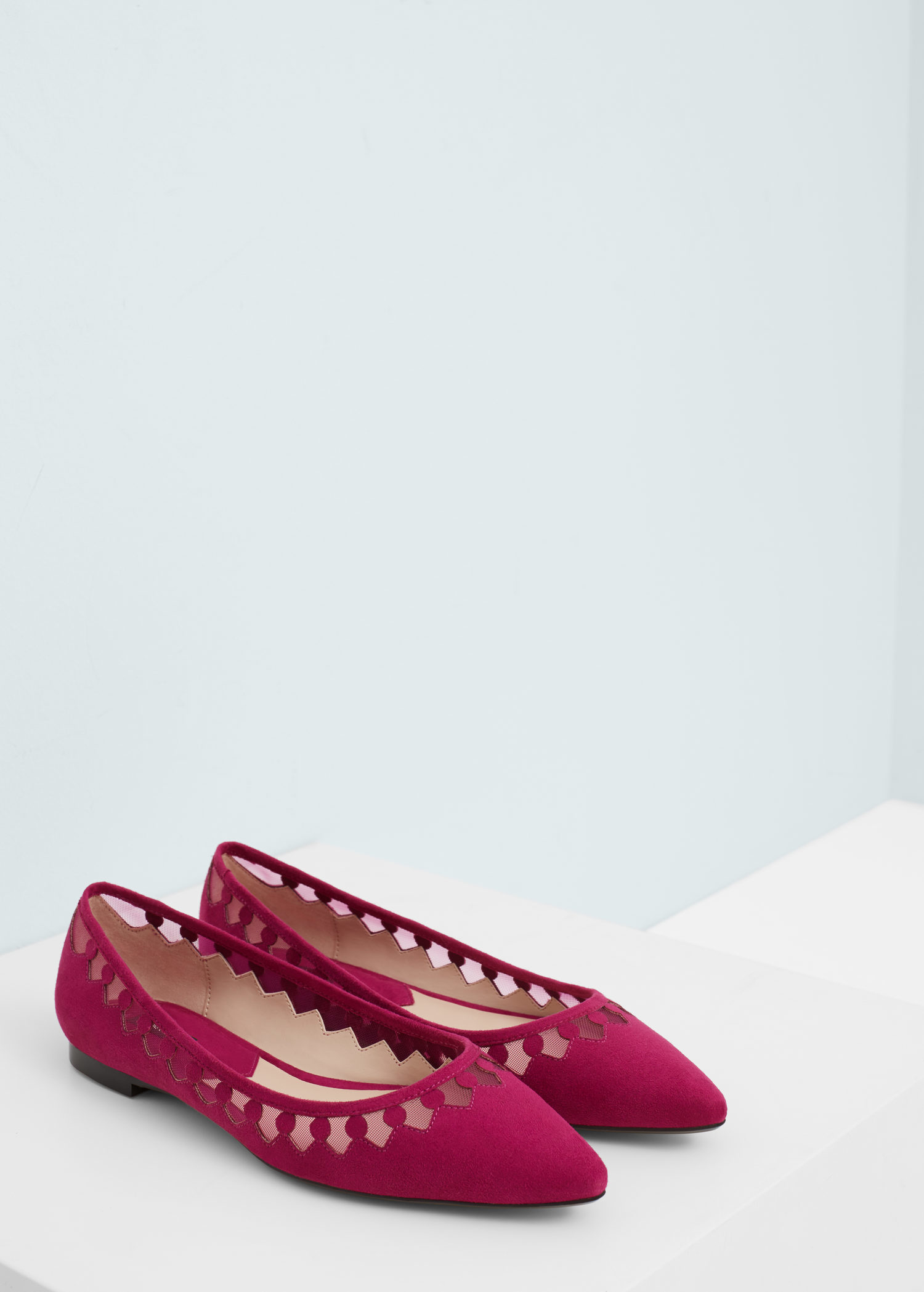 Mango Pointed Toe Flat Shoes In Purple | Lyst