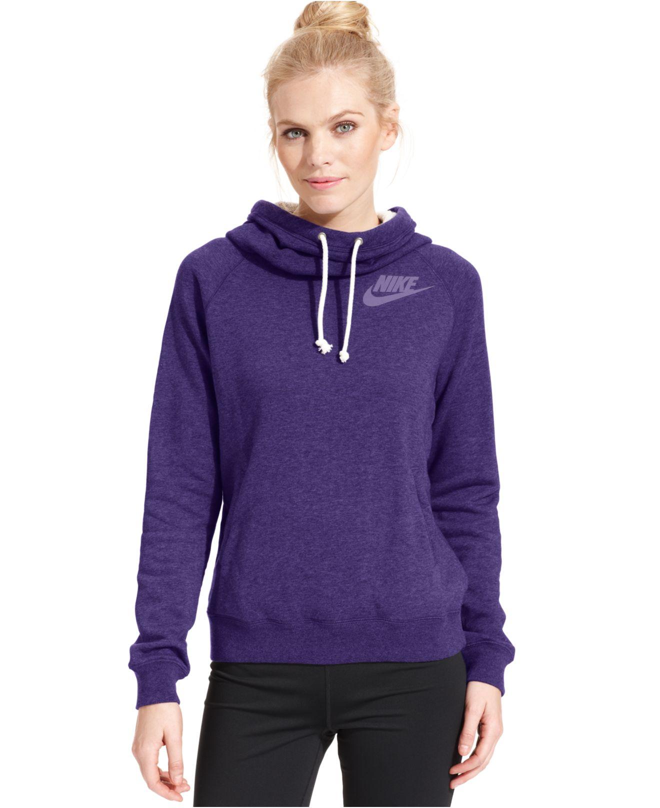 Nike Rally Funnel-Neck Sweatshirt Hoodie in Purple | Lyst