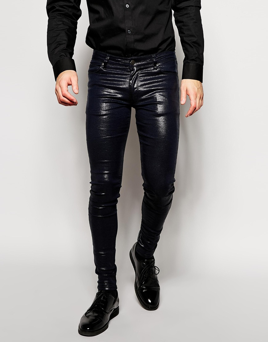 asos extreme super skinny jeans with shiny coating in. Black Bedroom Furniture Sets. Home Design Ideas