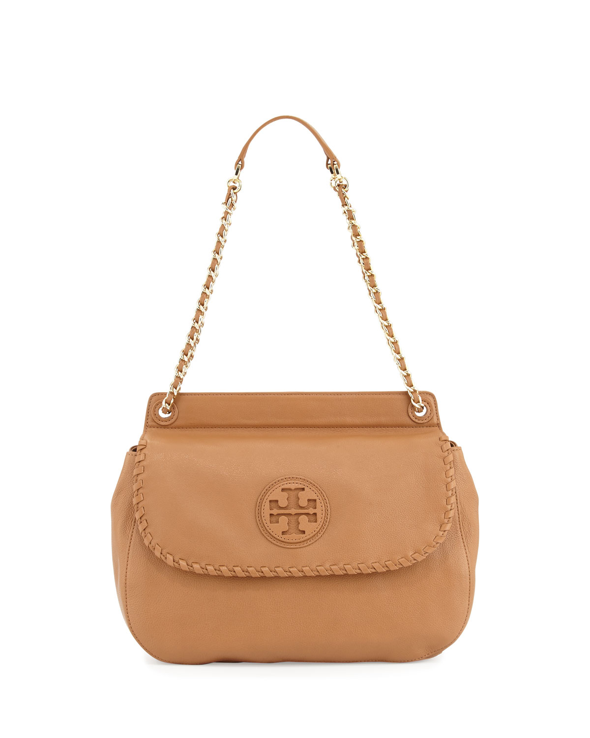 b395a040d1b0 Tory Burch Marion Leather Saddle Bag Beige in Beige