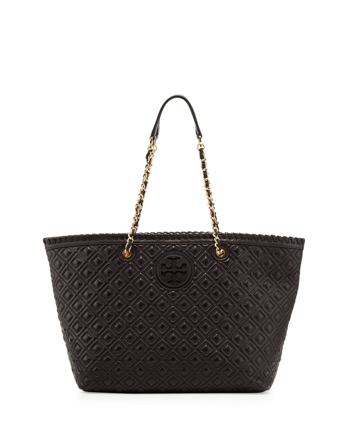 Tory Burch Marion Quilted Tote Bag In Black Lyst