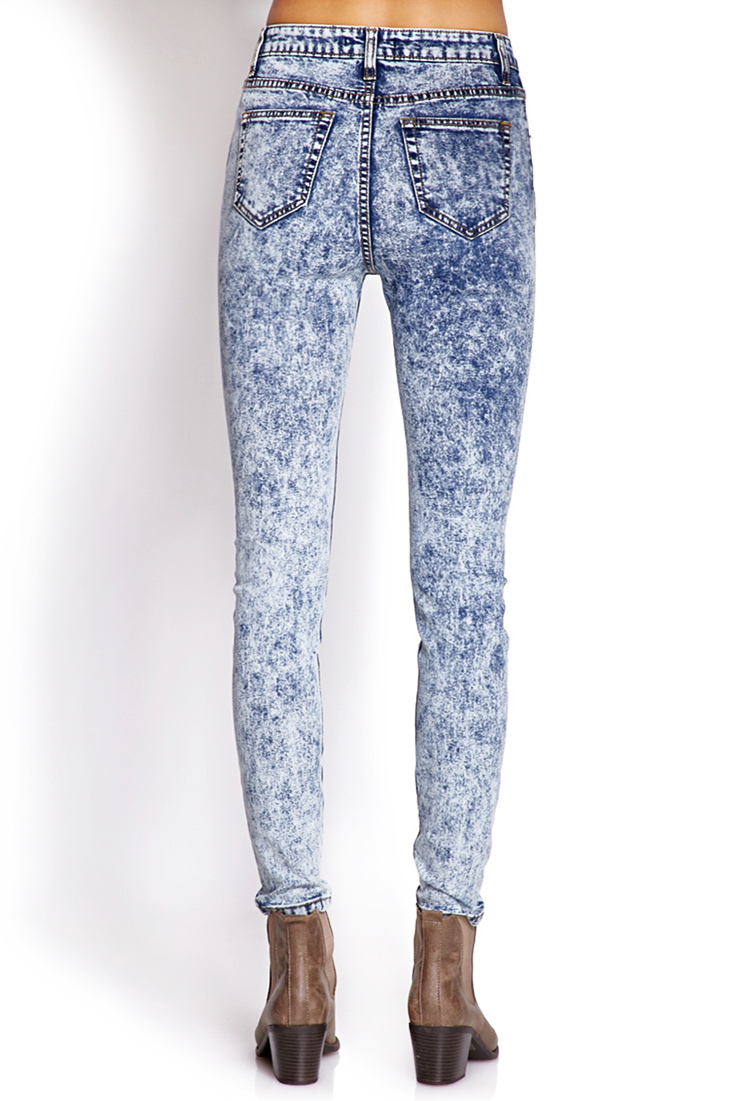 Forever 21 High-waisted Acid Wash Jeans in Blue | Lyst