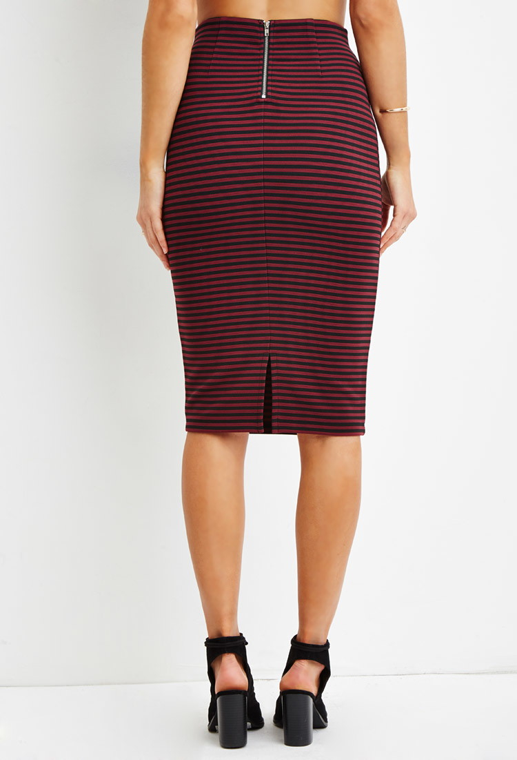 Forever 21 Striped Pencil Skirt in Red | Lyst